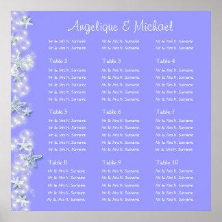 Purple white beach starfish wedding engagement poster