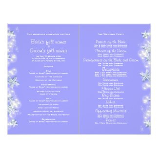 Purple white beach starfish wedding flyer