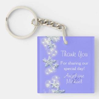 Purple white beach starfish wedding keychain