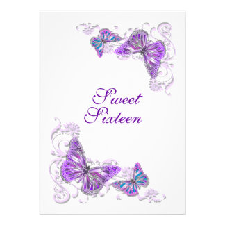 Purple white birthday engagement wedding personalized announcements