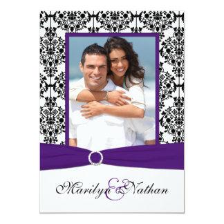 Purple, White, Black Damask Photo Wedding Invite