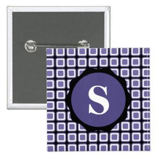 Purple White Black Monogram Check Pattern Button