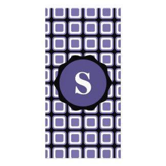 Purple White Black Monogram Check Pattern Card