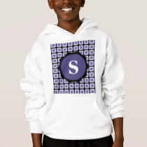 Purple White Black Monogram Check Pattern Hoodie