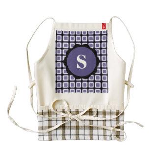 Purple White Black Monogram Check Pattern Zazzle HEART Apron