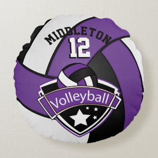 Purple, White & Black Personalize Volleyball Round Pillow