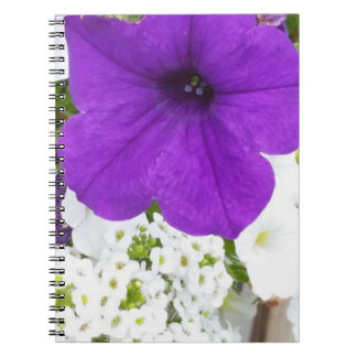 Purple & White Blooms Notebook (80 Pages B&W)