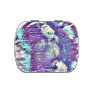 purple white blotches fabric pattern blue abstract jelly belly candy tins