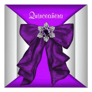 Purple White Bow Purple Quinceanera Card