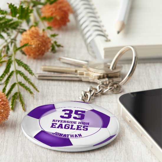 purple white boys' soccer sports team colors keychain