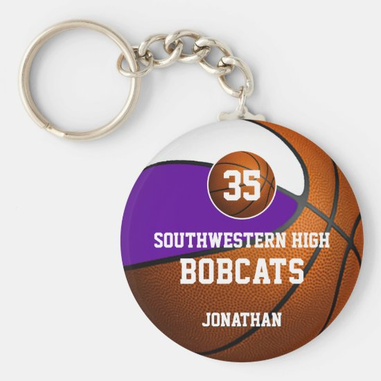 Purple white boys' sports basketball team spirit keychain