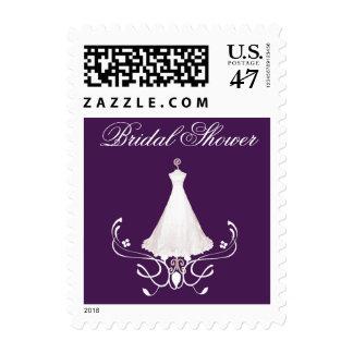 Purple & White Bride's Dress Stamps