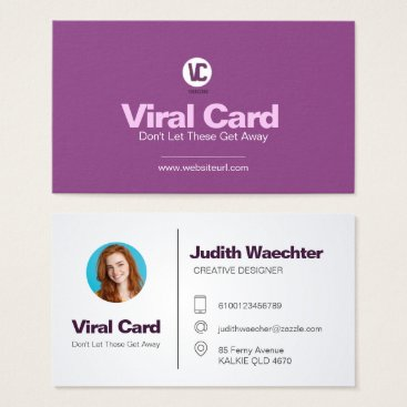 "Professional Business Purple White Business Card Standard, 3.5"" x 2.0"""