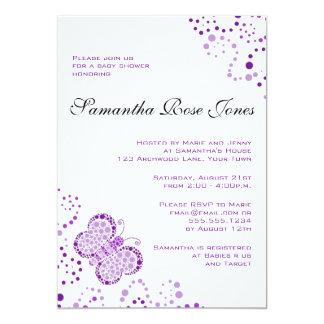 Purple & White Butterfly Elegant Baby Shower 5x7 Paper Invitation Card
