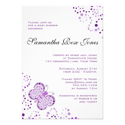 Purple & White Butterfly Elegant Baby Shower Personalized Announcement