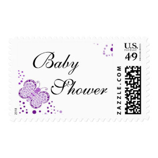 Purple & White Butterfly Elegant Baby Shower Postage Stamp