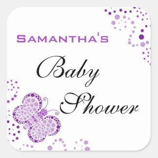 Purple & White Butterfly Elegant Baby Shower Stickers