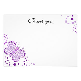 Purple & White Butterfly Flat Thank You Note Custom Announcements