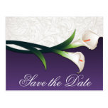 Purple & White Calla Lily Wedding Save the Dates Post Card