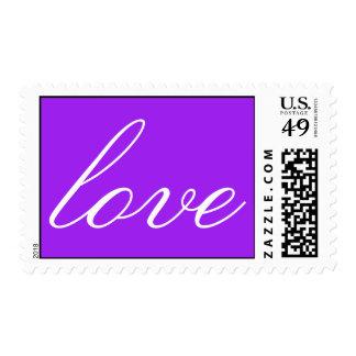 Purple White Calligraphic Love Wedding Postage