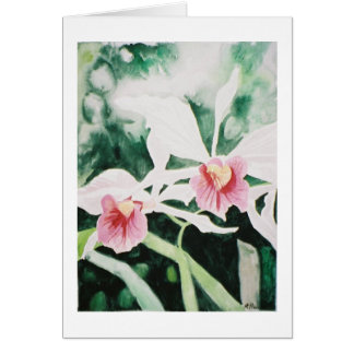 purple & white cattleya orchids greeting card