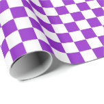 Purple/White Checkered Wrapping Paper