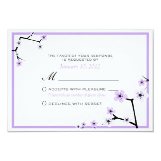 Purple White Cherry Blossom Flowers Custom RSVP Card