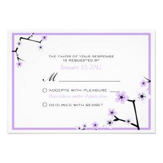 Purple White Cherry Blossom Flowers Custom RSVP Custom Invites