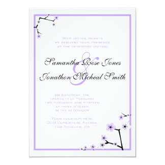 Purple White Cherry Blossom Flowers Custom Wedding Card