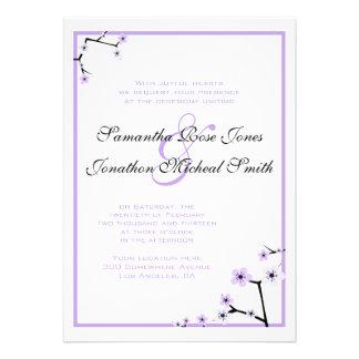 Purple White Cherry Blossom Flowers Custom Wedding Cards