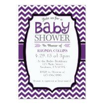 """Purple White Chevron Baby Shower Invitation 5"""" X 7"""" Invitation Card"""