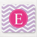 Purple White Chevron Bright Pink Monogram Mouse Pad
