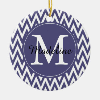 Purple White Chevron Monogram Ceramic Ornament