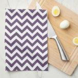 Purple White Chevron Pattern Kitchen Towel