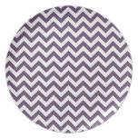 Purple White Chevron Pattern Party Plates