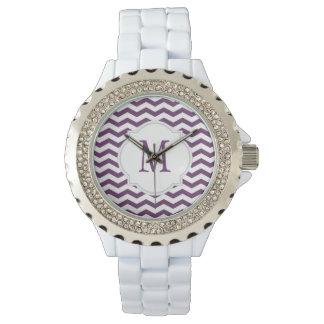 Purple & White Chevron Pattern Watch