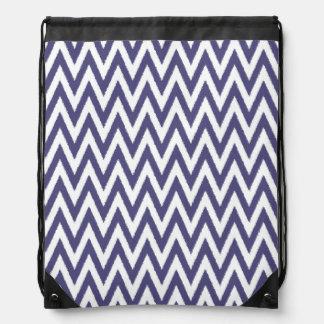 Purple White Chevron Drawstring Bags
