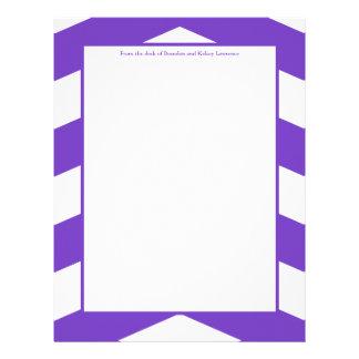 Purple & White Chevron Stationery w/ Signature Letterhead Design