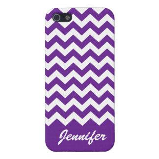 Purple & White Chevron Trendy monogram iPhone case