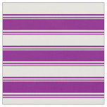 [ Thumbnail: Purple & White Colored Lined Pattern Fabric ]