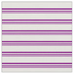 [ Thumbnail: Purple & White Colored Stripes/Lines Pattern Fabric ]