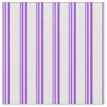 [ Thumbnail: Purple & White Colored Stripes Pattern Fabric ]
