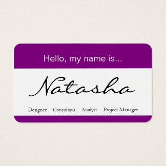 Purple & White Corporate Name Tag - Business Card
