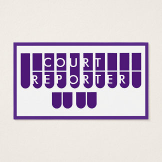 Purple white court reporter custom business cards