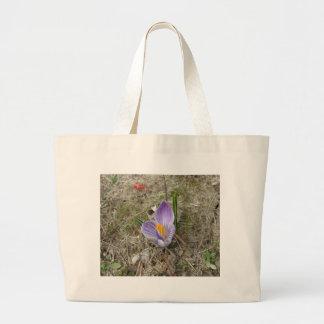 Purple & White Crocus Bloom Canvas Bags