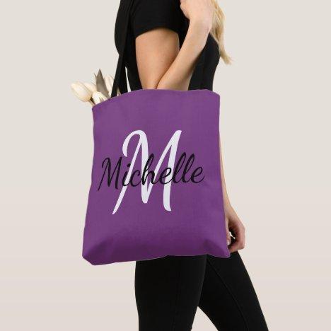 Purple & White Custom Monogram Tote Bag