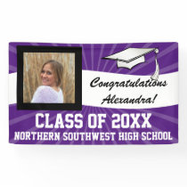 Purple White Custom Photo Graduation Sign