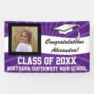 Purple White Custom Photo Graduation Sign Banner