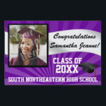 "Purple/White Custom Photo Graduation Yard Sign<br><div class=""desc"">Congratulations to the class of (your year). Customize this personalized yard banner sign with your graduate&#39;s photo,  name,  year and school or other custom text. Purple and white high school or college colors.</div>"