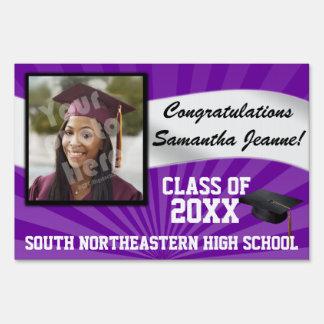 Purple/White Custom Photo Graduation Yard Sign